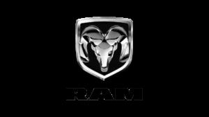 RAM Logo: Silver head of a ram (the horned mammal)