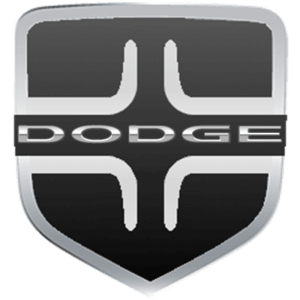 Dodge Logo: silver Dodge inscription with two inclined red stripes